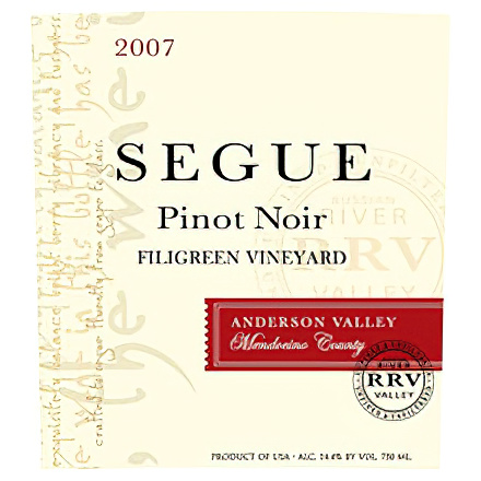 Segue Cellars 2007 Filigreen Vineyard, Anderson Valley, Mendocino County Pinot Noir