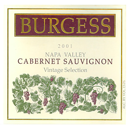 Burgess Cellars 2001 Vintage Selection Napa Valley Cabernet Sauvignon
