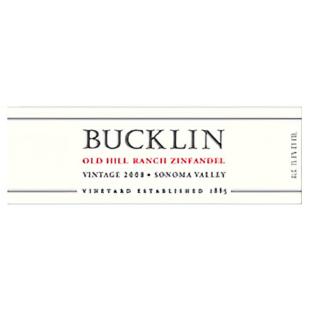 Bucklin 2008 Old Hill Ranch, Sonoma Valley Zinfandel