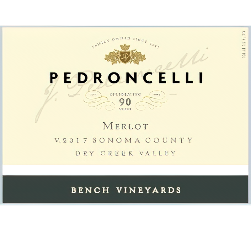 Pedroncelli Winery 2017 Bench Vineyards Dry Creek Valley Sonoma County Merlot